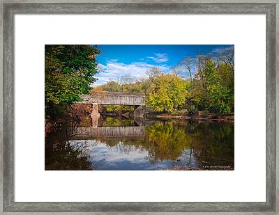Framed Print featuring the photograph Covered Bridge In Autumn by Phil Abrams