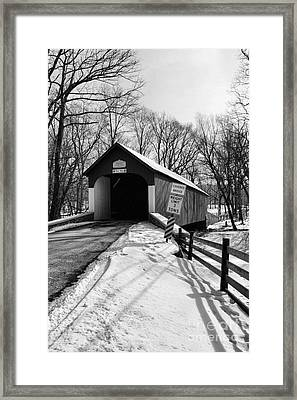 Covered Bridge In Black And White Framed Print by Paul Ward