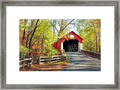 Covered Bridge In Bucks County Framed Print