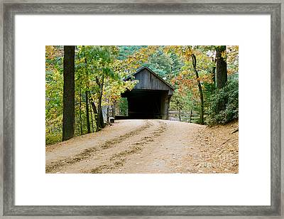 Framed Print featuring the photograph Covered Bridge In October by Vinnie Oakes