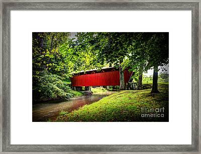 Covered Bridge In Pa Framed Print by Dan Friend