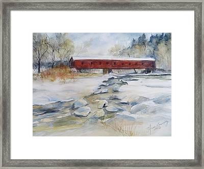Covered Bridge In Snow Framed Print by Heidi Brantley