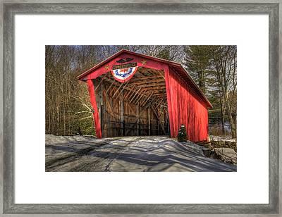 Covered Bridge In Snow Framed Print by Patti Burnett