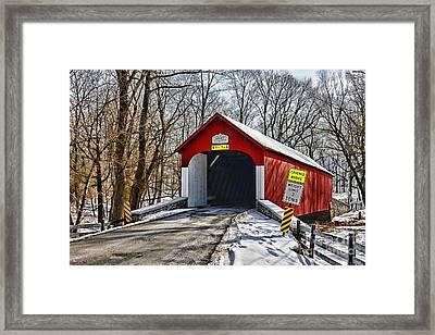 Covered Bridge In Winter  Framed Print