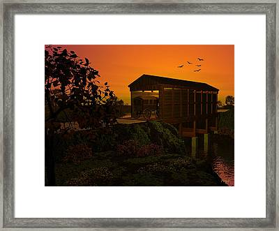 Covered Bridge Framed Print by John Pangia