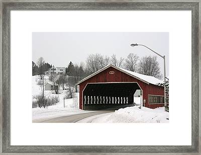 Framed Print featuring the photograph Covered Bridge Muskoka by Paula Brown