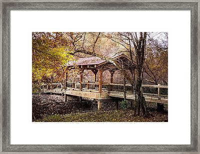 Covered Bridge On The River Walk Framed Print by Debra and Dave Vanderlaan