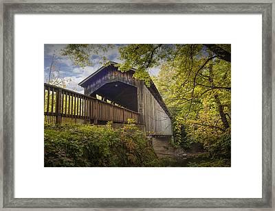 Covered Bridge On The Thornapple River In Ada Michigan Framed Print