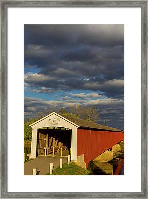 Covered Bridge Over The East Fork Framed Print by Chuck Haney