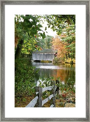 Covered Bridge Over The Lake Framed Print by Vinnie Oakes