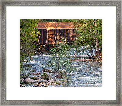 Framed Print featuring the photograph Covered Bridge Over The River by Debby Pueschel