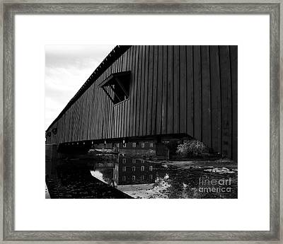 Covered Bridge Reflections Bw Framed Print by Mel Steinhauer