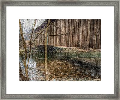 Framed Print featuring the photograph Covered Bridge Snowy Day by Susan Maxwell Schmidt