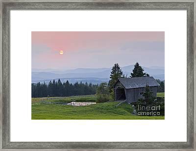 Covered Bridge Sunset Framed Print