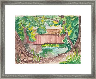 Covered Bridge Watercolor Framed Print by Fred Jinkins