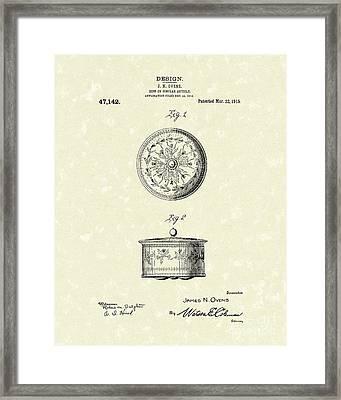 Covered Dish 1915 Patent Art Framed Print