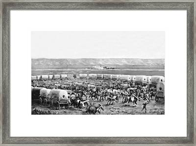 Covered Wagon Corral Framed Print by W. H. Jackson