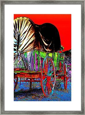 Covered Wagon Pop Art Framed Print by Phyllis Denton