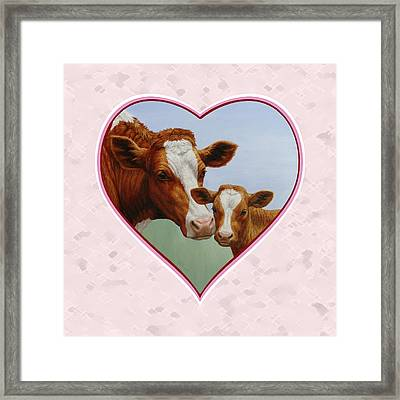 Cow And Calf Pink Heart Framed Print