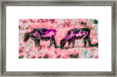 Cow Art - Grazing In Profile  Framed Print