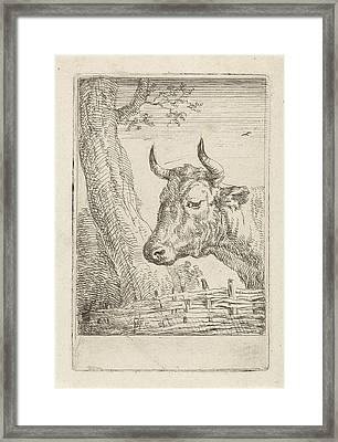 Cow At A Willow Fence, Aert Schouman, Paulus Potter Framed Print by Artokoloro