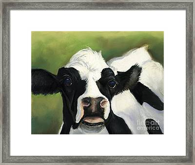 Cow Closeup Framed Print by Charlotte Yealey