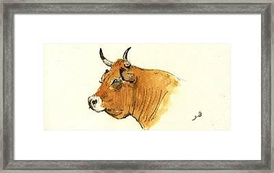 Cow Head Study Framed Print by Juan  Bosco