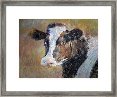 Framed Print featuring the painting cow by Jieming Wang
