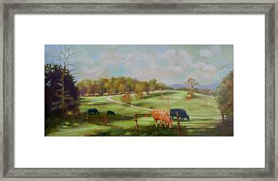 Cow Landscape Framed Print by Janet McGrath