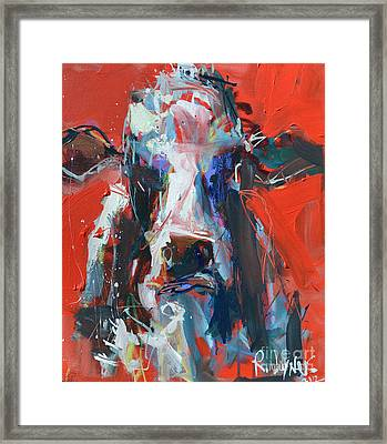 Cow On Red Framed Print