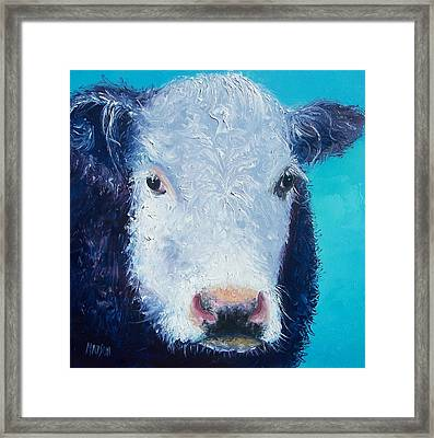 Cow Painting 'camomile' By Jan Matson Framed Print by Jan Matson