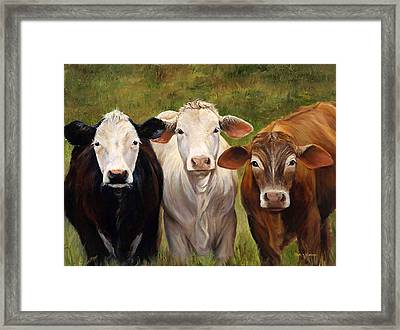 Cow Painting Of Three Amigos Framed Print