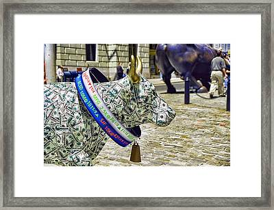 Cow Parade N Y C  2000 - Live Stock Cow Framed Print by Allen Beatty