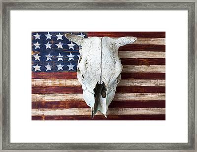 Cow Skull On Folk Art American Flag Framed Print by Garry Gay
