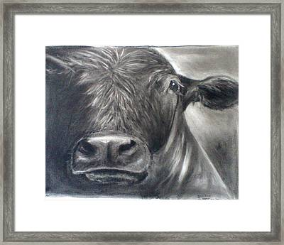 Framed Print featuring the drawing Cow View by J L Zarek