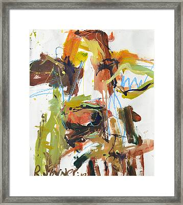 Cow With Green And Brown Framed Print