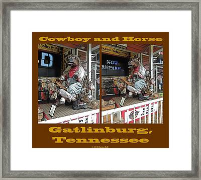 Cowboy And Horse Framed Print by Marian Bell