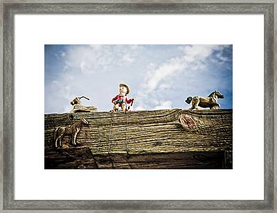 Cowboy And Hourses Framed Print