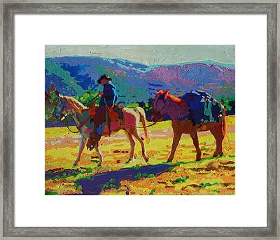 Cowboy And Pack Mule 2 Framed Print