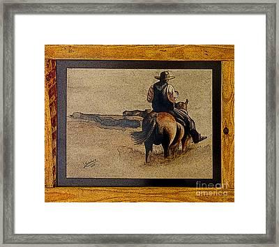 Cowboy Art By L. Sanchez Framed Print