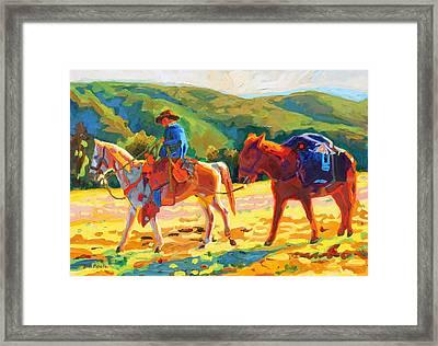 Cowboy Art Cowboy And Pack Horse Oil Painting Bertram Poole Framed Print by Thomas Bertram POOLE
