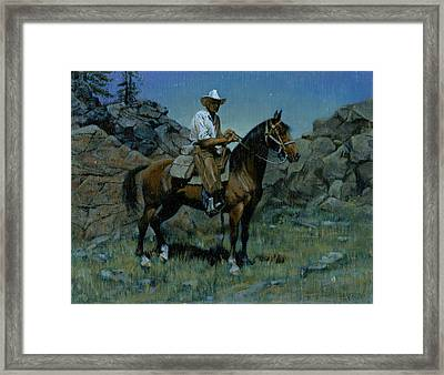 Cowboy Night Scene Framed Print by Don  Langeneckert