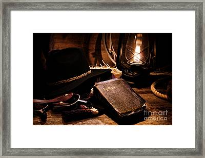 Cowboy Bible Framed Print