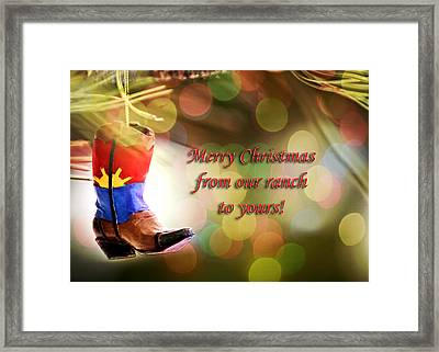 Cowboy Boot Christmas Framed Print