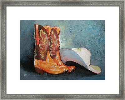 Cowboy Boots And Hat Framed Print