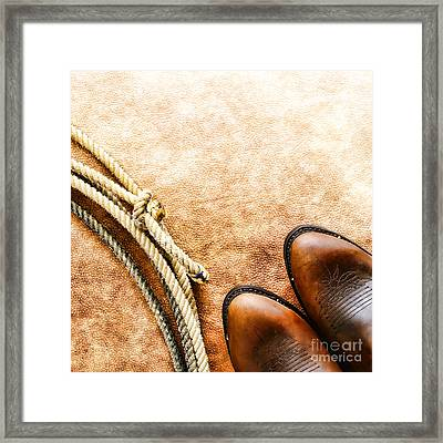 Cowboy Boots And Lasso Framed Print by Olivier Le Queinec
