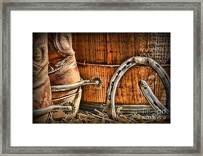 Cowboy Boots And Spurs Framed Print by Paul Ward