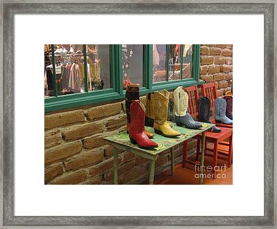 Framed Print featuring the photograph Cowboy Boots by Dora Sofia Caputo Photographic Art and Design