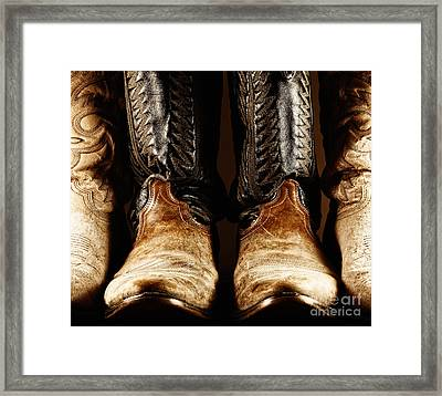 Cowboy Boots In High Contrast Light Framed Print