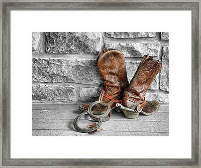 Cowboy Boots Framed Print by Sami Martin